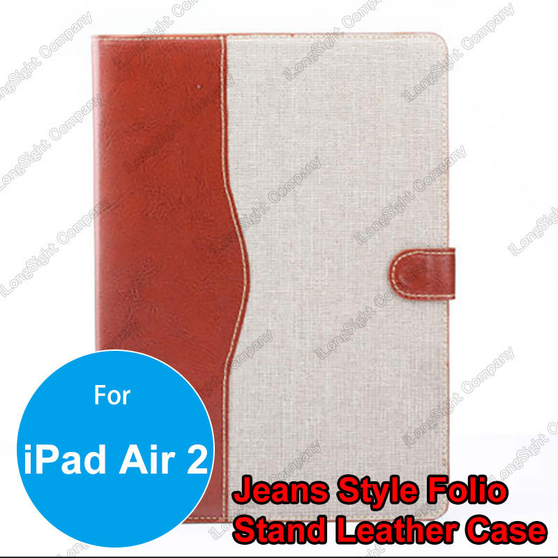 Stand Feature Design Jeans Denim Wallet Cards Holder Flip Case Cover with Picture Window for iPad Air 2