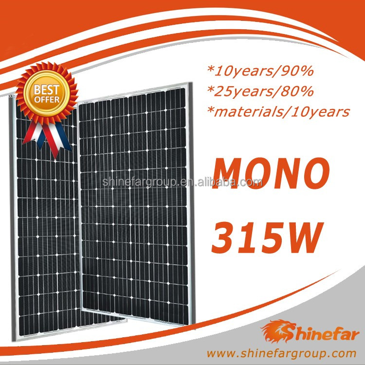 Shinefar pv solar panel price mono 315W for off-grid 5kw home solar system