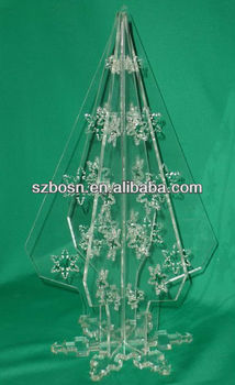 Clear acrylic christmas tree with butterfly shaped pattern;Engraved acrylic chritmas gifts;