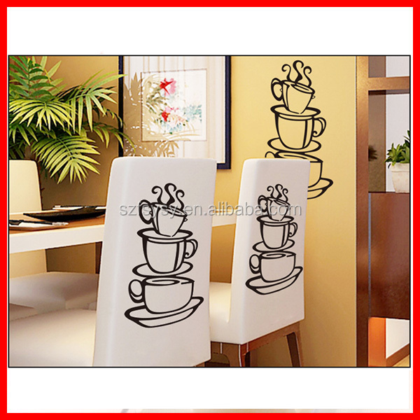 2017 Excellent Quality Wall Painting Decoration Coffee Cup Sticker
