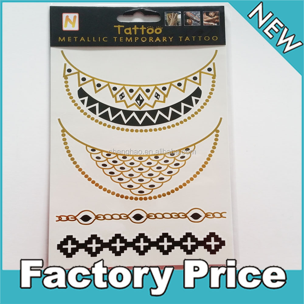 new style decorative transfer gold necklace tattoo sticker