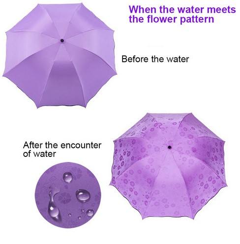 Simple Fashion Manual  3 Folding Sunscreen Magic Flower Dome Umbrella