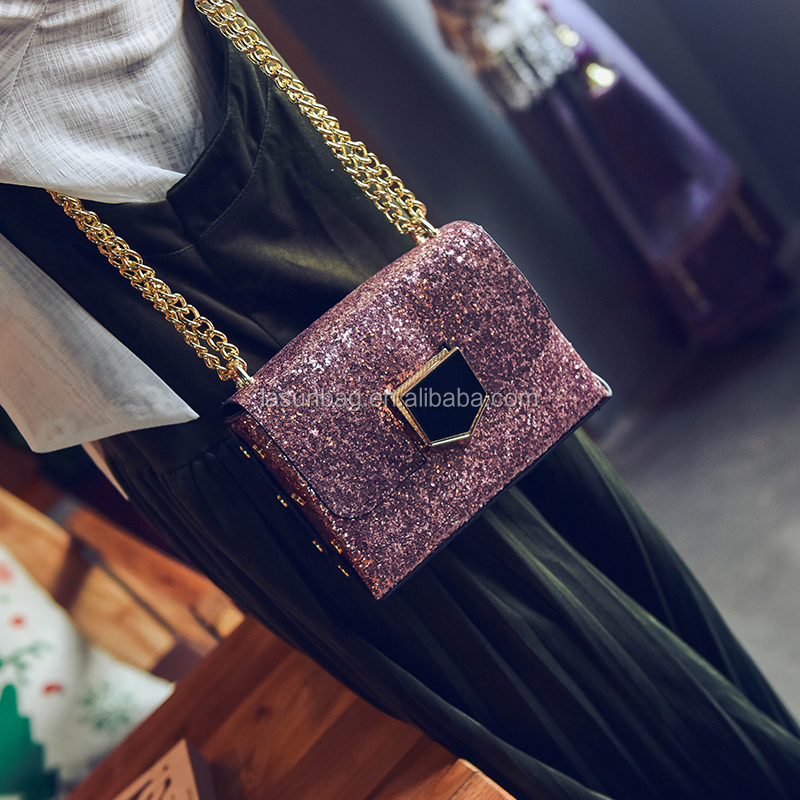 Fashoin Ladies Chain Shoulder Bag PU Leather Candy Color Crossbody Flash Mini Shoulder Bag Factory Sale