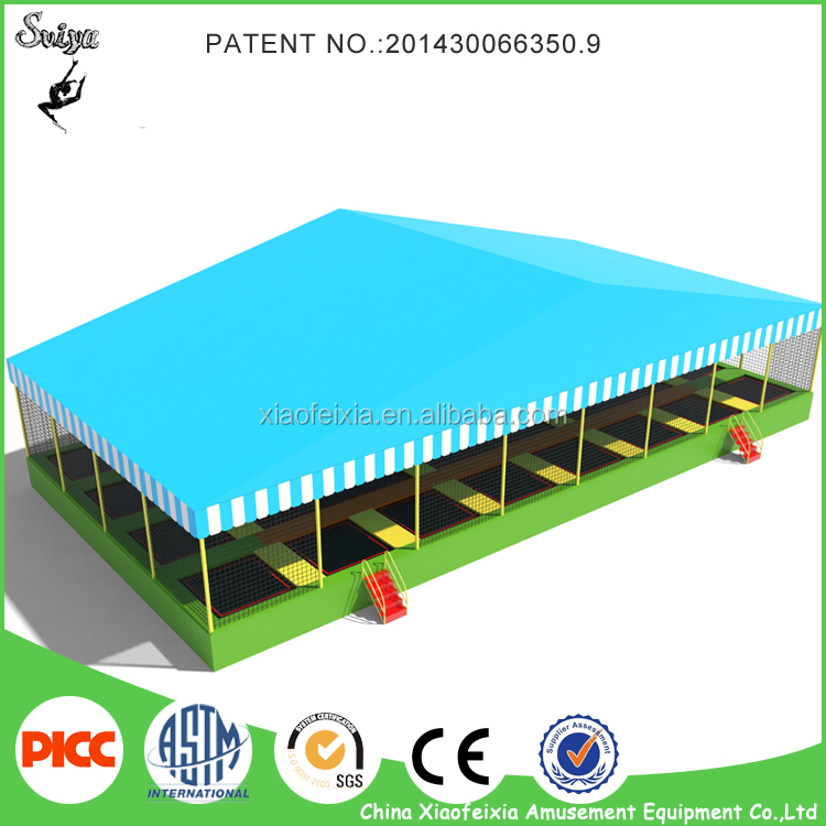Equipment commercial trampoline with roof