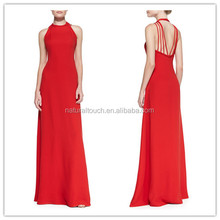 New cheap long style red evening dress for ladies party wear gown AW046