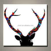 Colorful Modern Abstract Antler Canvas Wall Art, Handmade Deer Oil Painting Design