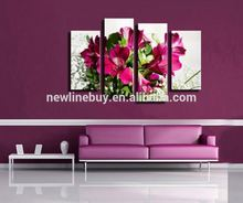 2015 Hot Sell 4 panel Red Flower Large HD Decorative Art Print Painting On Canvas For Living Room Wall Paintings <strong>Pictures</strong>