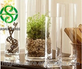Super Quality straight tall glass Flower Vase antique handblown clear glass vases wholesale cheap