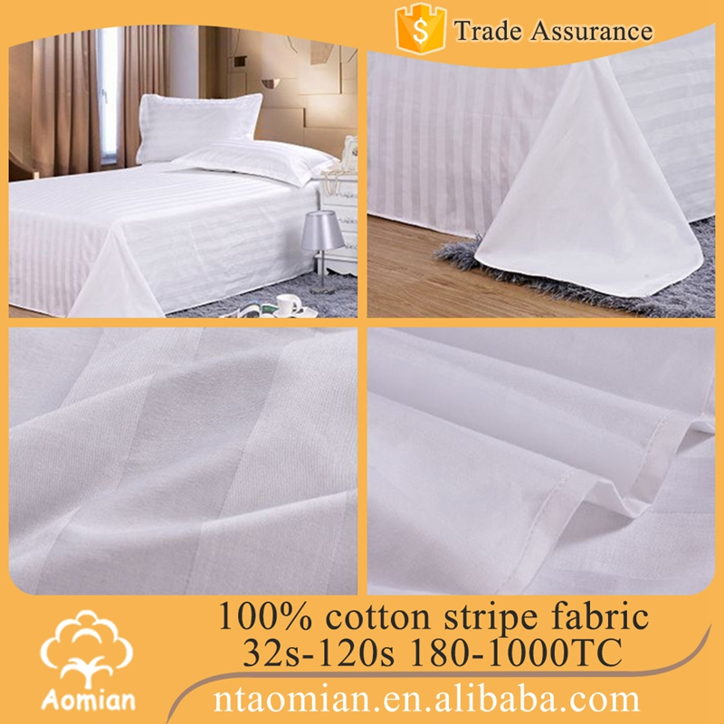 100% cotton custom stripe satin white fabric for making bed sheet