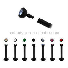Titanium anodized internally threaded labret piercing jewelry lip studs AMLR039