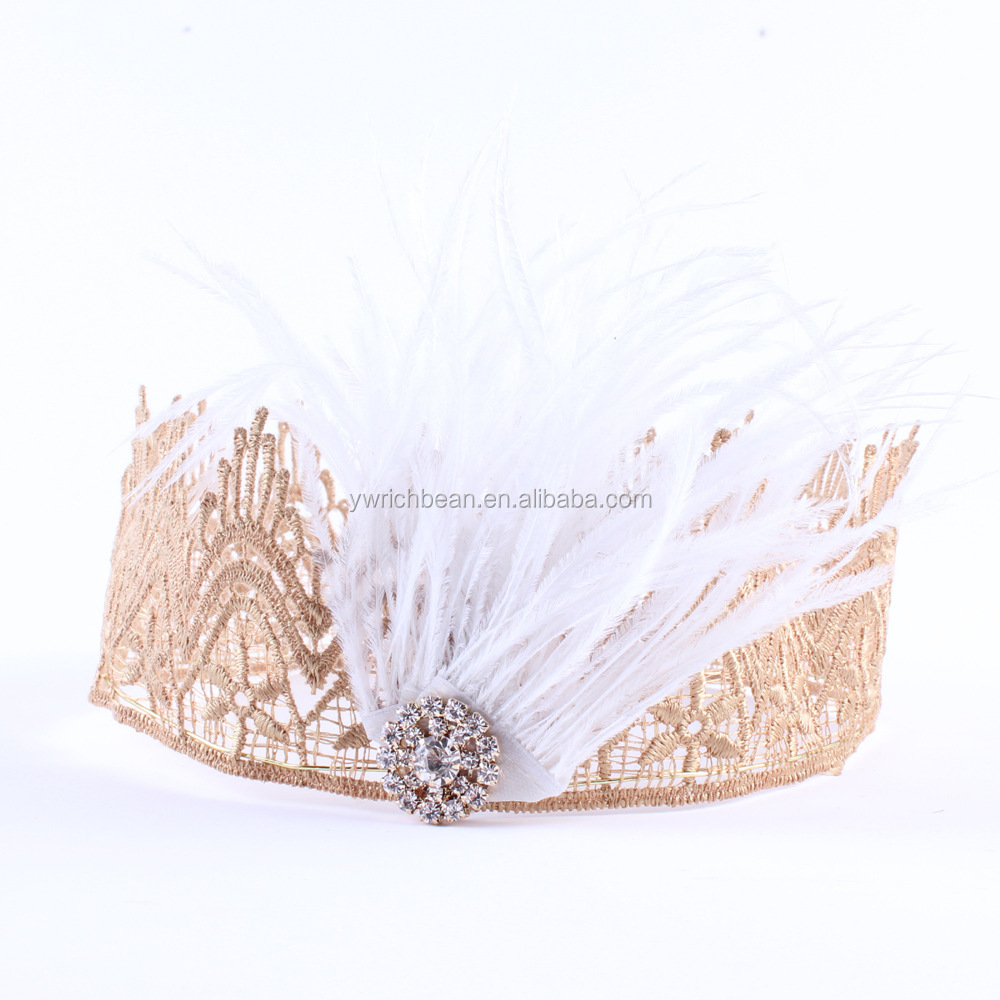 New Style girl Gold Lace Crown Headband Baby Hair Accessories Gold princess Lace Crown for Newborn Photography Prop wh-1824