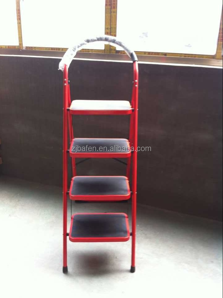 kitchen ladder stool metal material household ladder colored red, yellow with EN131