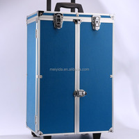 Aluminum Jewelry Travel Trolley Case Blue