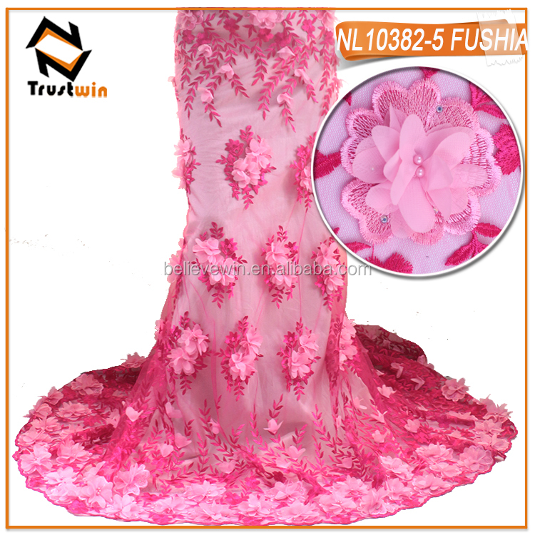 French lace fabric embroidery lace fushia color tulle curtain fabric with 3D flower