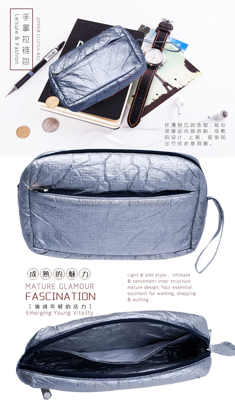 Waterproof Tyvek Paper Zipper Clutch Wallet Bag With Wrist Handle For Mobile Phone & Digital Accessories