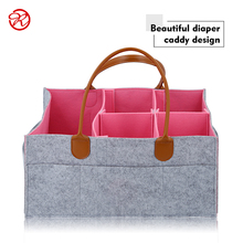 custom size strong leather strap felt baby diaper caddy bag