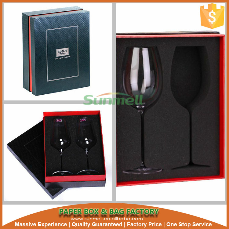 Black luxury custom wine bottle glass satin lined gift box