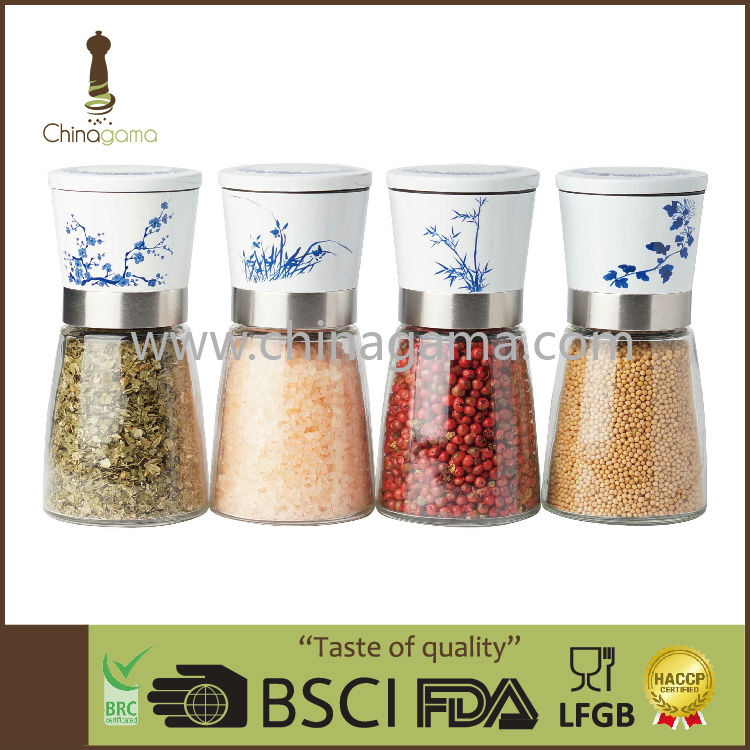 6OZ 170ml Food Grade Transfer Printing Manual Colorful Salt and Pepper Mill