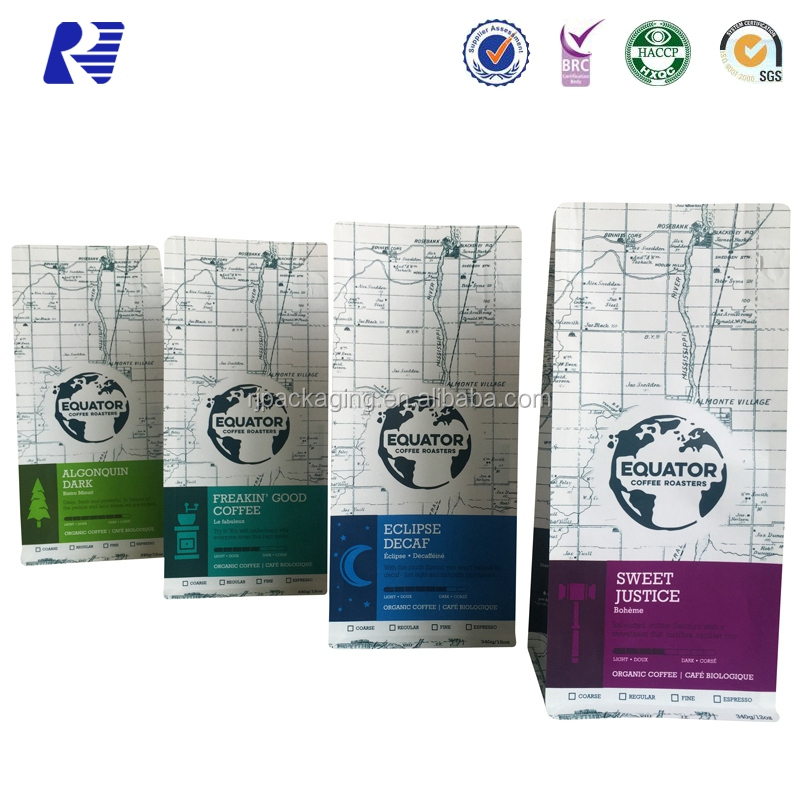 Manufacturer directly supply valve ziplock printed coffee bag with tintie