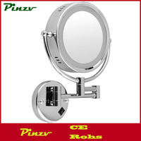 8.5 Inch LED Lighted Double-Sided Wall Mounted Makeup Mirror,1x and 10x Magnification Cosmetic Shaving Bathroom Mirror,Chrome Fi