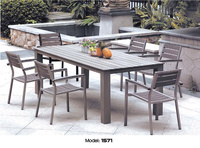 2017 new design outdoor Polly wood stainless steel 1.8 m dinning table six chair set