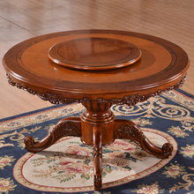 Wood Round Rotating Chinese Dining Table Round Solid Wood Dining Table