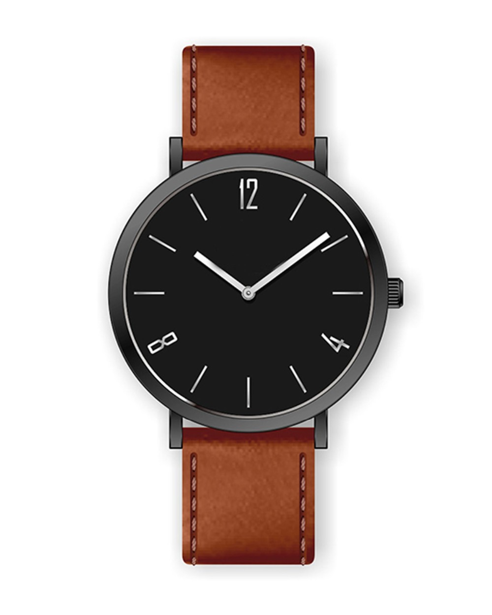 European stylish designed simple leather watch with your own logo on watch face