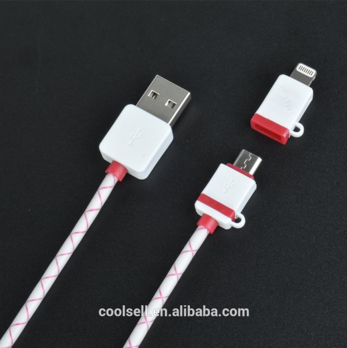 High Quality all in one data cable Sync Data Charger 2 in 1 TPE Copper Core 2.1A Micro USB Cable for iPhone and Android