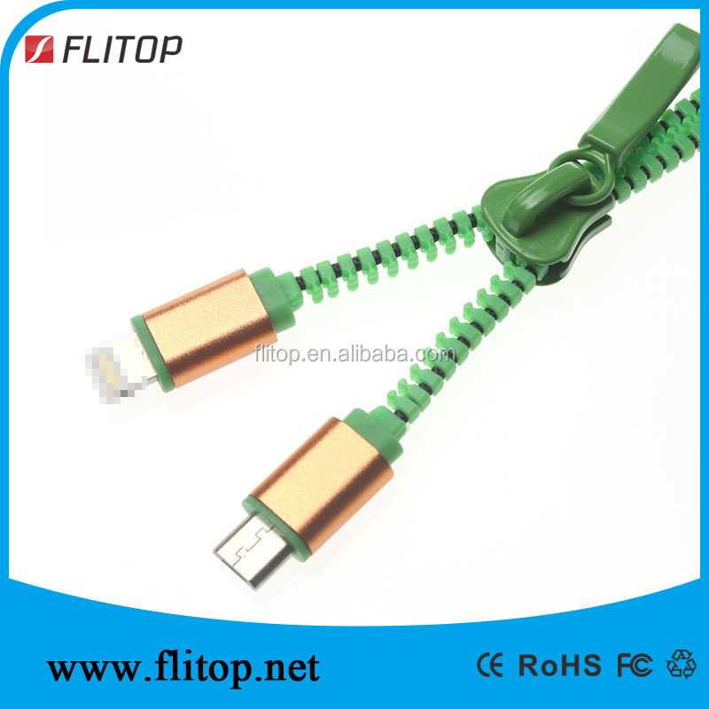 3ft USB 2.0 High Speed 2 in 1 Zipper Charge Cable with Lighnting and Micro USB Combo Connectors for IOS/Android Phone 6 6s plus
