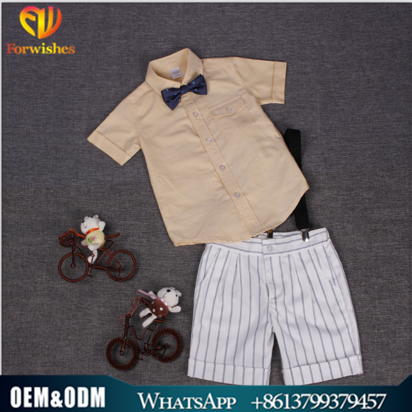 Brand Foreign Trade Boy Clothing Dress Formal Suit Shirt +Short Suspenderd+Bow Tie Tree Suit Take Child's Clothing