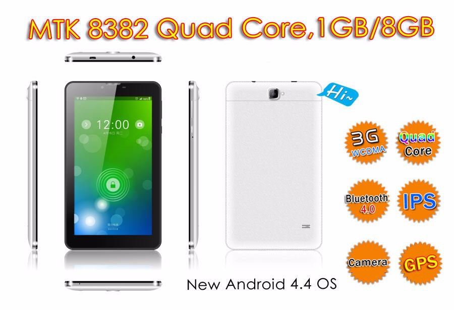 Factory price 7 inch MTK Quad core 3G phone call 5 point touch 1024*600 android 4.4 tablet pc