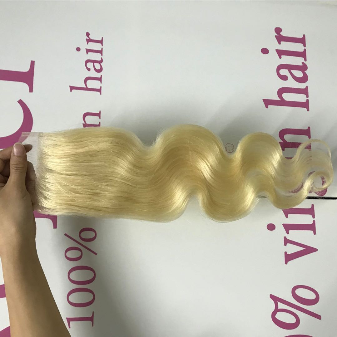 Cheap Discount Blonde Brazilian Human Hair Weave With 4x4 Lace Closure Extensions