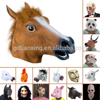 Eco-Friendly Natural Latex Horse Mask Full Head Animal Mask