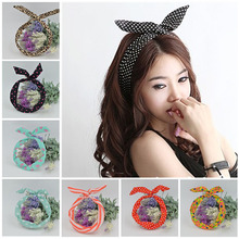 Cute Leopard Dots lip print flower Bunny Rabbit Ear Ribbon Headwear Hairband Metal Wire Scarf Headband <strong>Hair</strong> Band <strong>Accessories</strong>