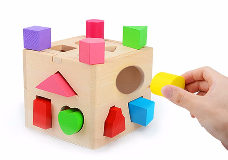 Wooden Intellligent Box with Holes Educational Wooden Shape Sorter Wood Game Pieces