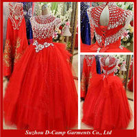 WD-2687 Facny crystal beaded red ball gown wedding dress red wedding dress pictures