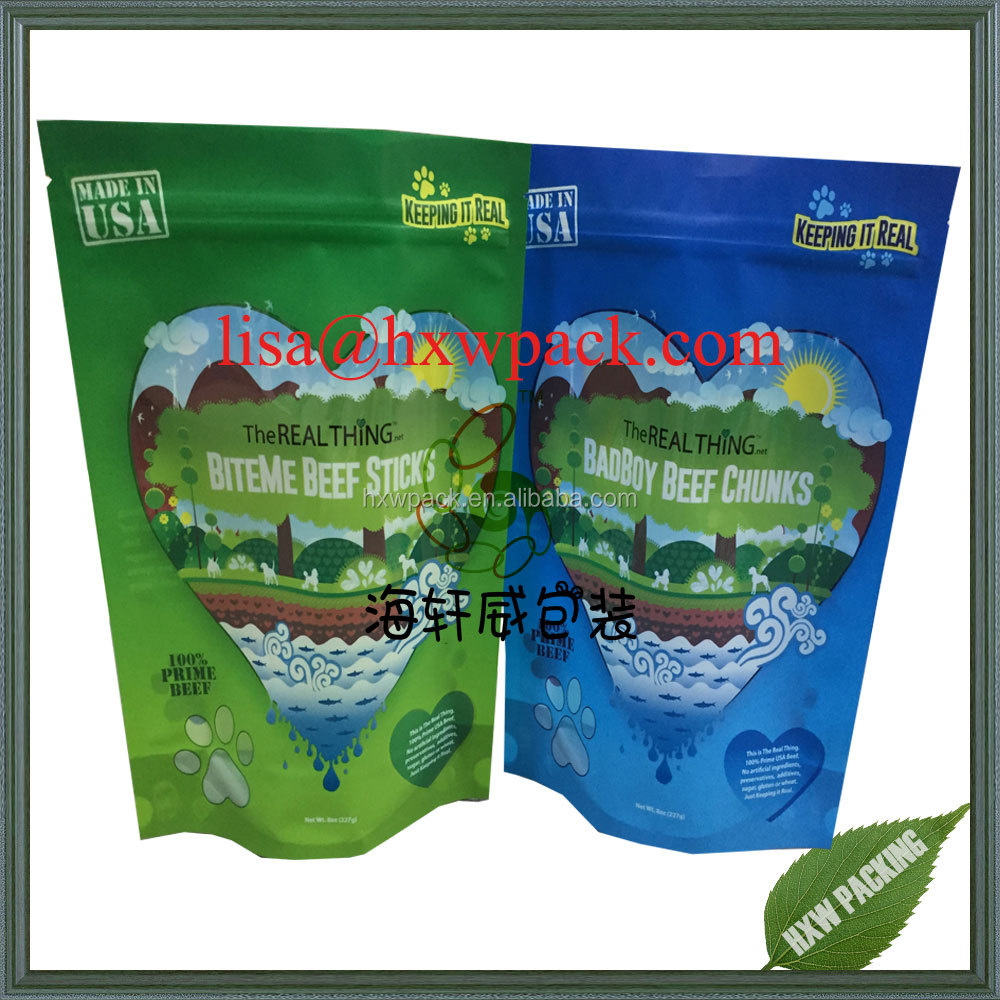 elegant printing high quality doypack stand up beef jerky candy dog food plastic bag pouch