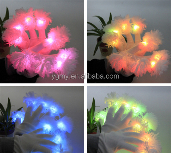 led gloves finger light gloves party supplies dancing club props light up toys glowing unique gloves