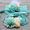 Mint Flower Sash Matching Headband Sets Natural Rhinestone Crown Sash Belt Vintage Headband