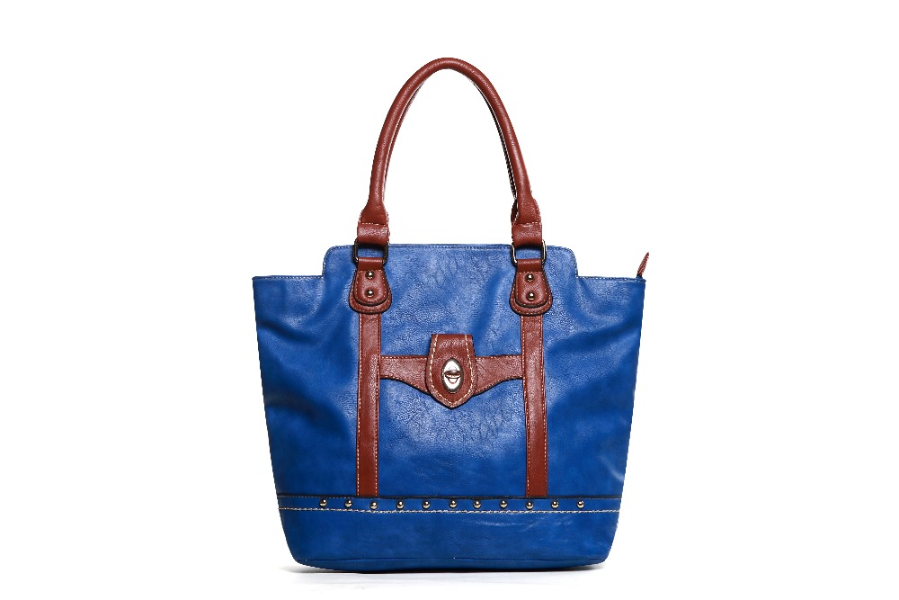 Hot Sale Royalblue Color Handbag Beautiful PU Lady Bag with Front Pocket Best Selling in USA