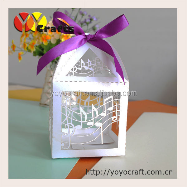 music note customizable wedding favor candy box laser cut white chrismas favor cakes decorations boxes