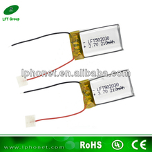 long cycle life 502030 rechargeable 3.7v 200mAh li ion polymer battery for camera pen
