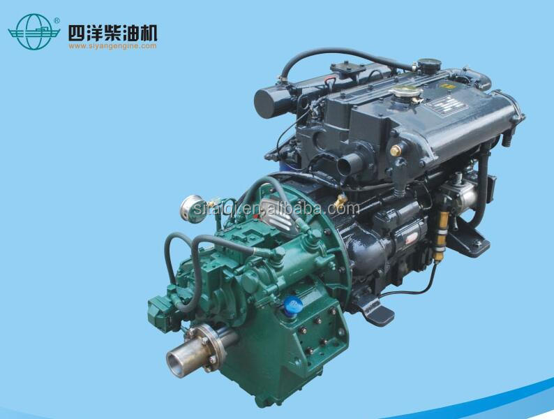 High speed marine diesel engine set with gearbox for fishing boat used SY495YA 74Hp