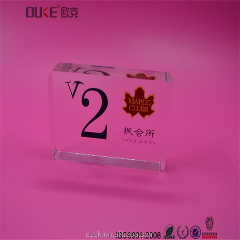 Customized transparent thick acrylic block sign holders for club