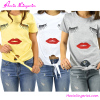 New Blouse Designs Delightful Lip Print Four Colors Short Sleeve Blouses For Women Summer 2016