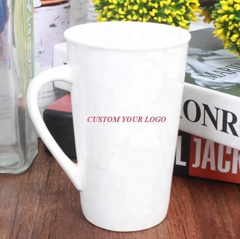 14oz White Custom logo Ceramic Mug Printed Coated Sublimation Coffee Mugs for wholesale