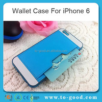 Hot Selling OEM Customized PU Leather Mobile Phone Bumper Back Wallet Case For Apple iPhone 6(Blue)