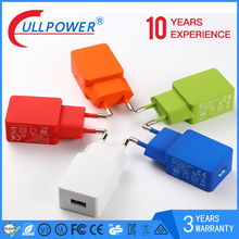 5V2.1A speedy Eu plug colorful wall usb charger for Iphone, Samsung