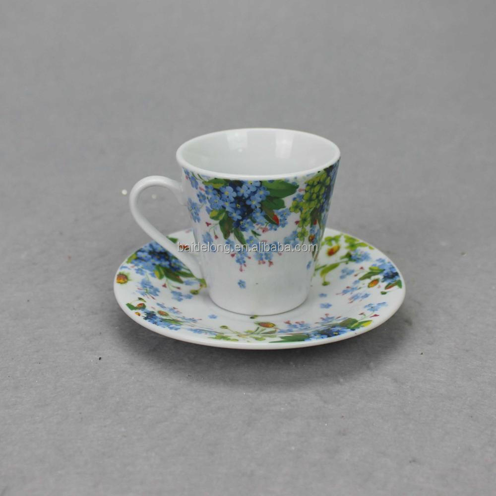 handmade porcelain tea mug and saucer set