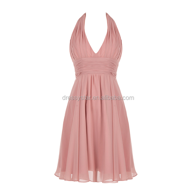 Wholesale blush Chiffon Deep V-neck Halter Ruched Short Bridesmaid Dress